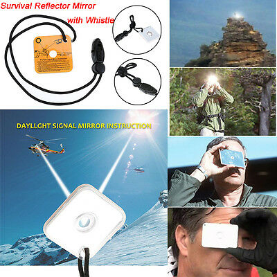 Outdoor Emergency Survival Rescue Micro Signal Mirror Reflector with Whistle New