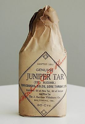 Antique/VTG SEALED Pharmacy Apothecary Medicine Bottle JUNIPER TAR RX512