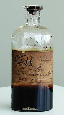 Antique/VTG Drug Store Pharmacy Apothecary Medicine GLASS CORK Bottle RX566