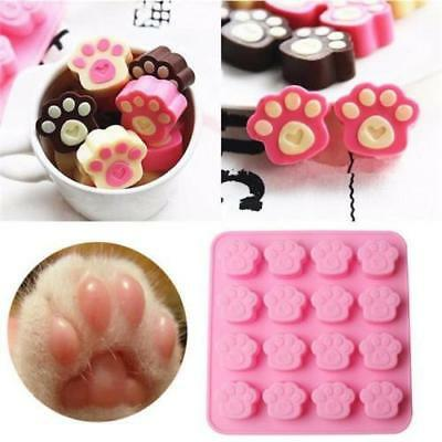 Cat Dog Paw Print Animal Silicone Chocolate Ice Mold Sugercraft Cake Top Soap W