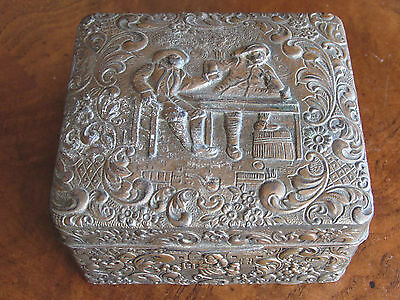 Vintage Mid-Century Metal Repousse Style Wood Lined Snuff Box-Made In Japan