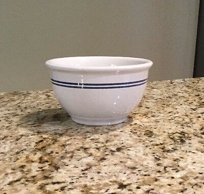 Vintage Ceramic-Pottery Bowl Egg Shell w/ Blue Lines Gibson , 6 1/2 X 4 Deep