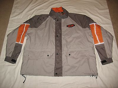 Harley Davidson Men's Gray Orange Reflective Zip Up Rain Riding Jacket Size 2Xl