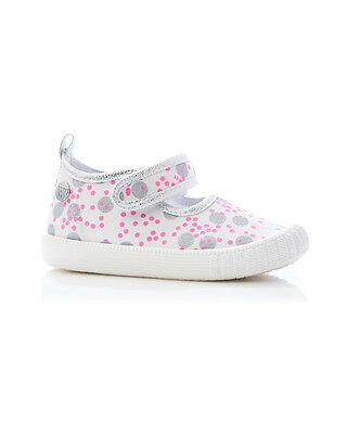 NEW Walnut Melbourne Mary Jane Girl's Canvas Classic MJ Silver Pink Spot