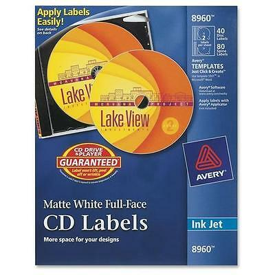 Avery 8960 Full Face CD Labels - 40 / Pack - Circle - Inkjet - White