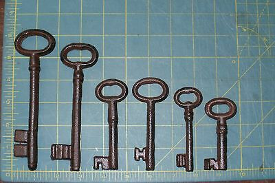 NEW~Set of 6 Cast Iron Rust Antique-Style Skeleton Keys Victorian Gothic Pirate
