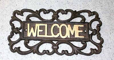 NEW~Ornate CAST IRON Scroll WELCOME Sign Gold Trim Door Porch Garden Plaque