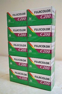 10 Rolls Fujicolor Negative 35mm Print Film ISO200 36exp