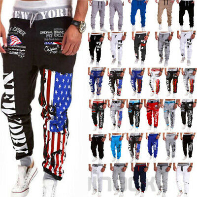 Mens Track Pants Baggy Long Trousers Gym Trackies Sport Trainning Bottoms Slacks