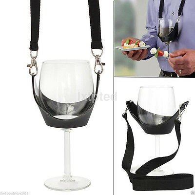 Hands Free Wine Glass Holder Necklace Wine Tasting Black Lanyard Party~
