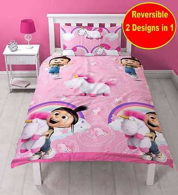 New Despicable Me Minions Pink Unicorn Single Duvet Quilt Cover Set Girls Bed