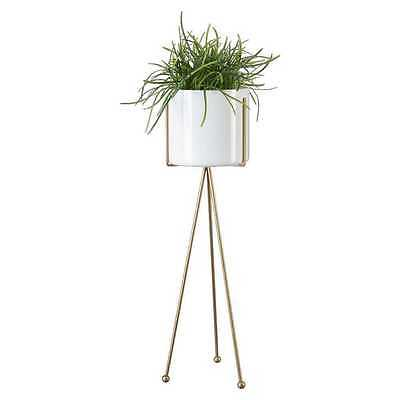 Metal & Glass Planter Plant Stand Pot White Home Decor Garden Container Display