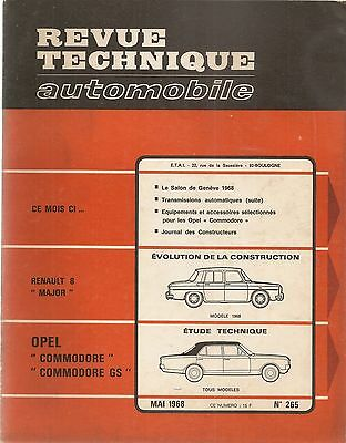 Revue Technique Automobile 265 Rta 1968 Etude Opel Commodore & Gs Evo R8 Major