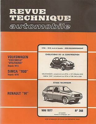 Revue Technique Automobile 368 Rta 1977 Renault 14 Vw Coccinelle Combi Simca 110