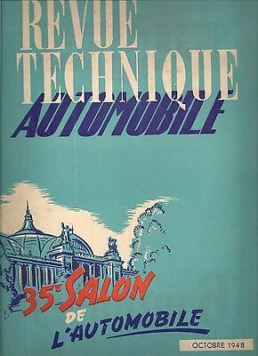 Revue Technique Automobile 30 Rta 1948 Salon De L'automobile 1948