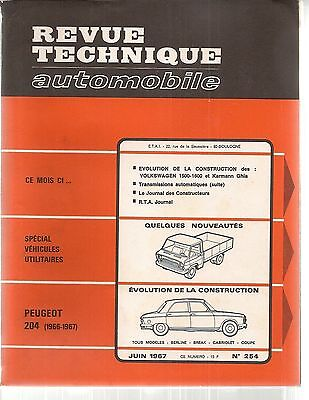 Revue Technique Automobile 254 Rta 1967 Peugeot 204 1966 1967 Vw Karmann Ghia