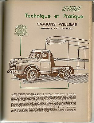 Revue Technique Automobile 139 Rta 1957 Etude Camions Willeme 4Cyl 6Cyl 8Cyl