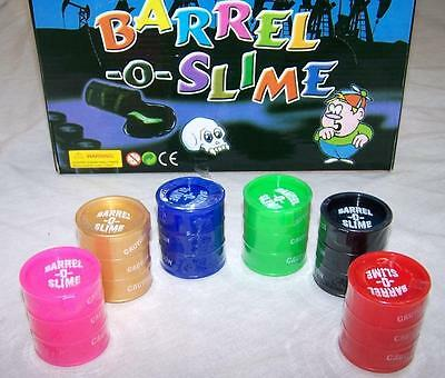 6 SMALL BARRELS ON COLOR SLIME novelty toys party items joke GOOP goo ooze toy