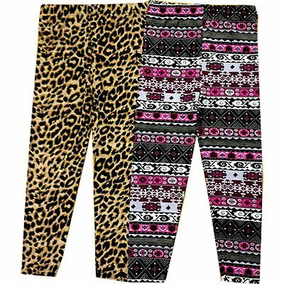 New Girls Black and white Vertical Striped Leopard Print Patterned Leggings