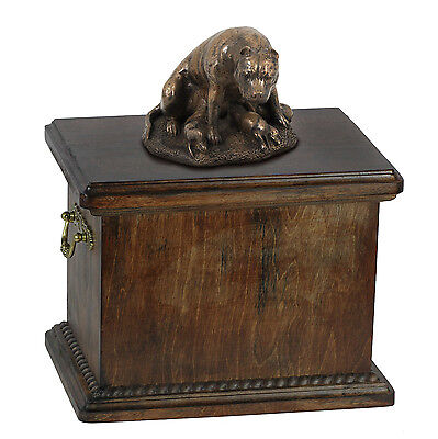 Wood Casket Staffordshire Terrier Memorial Urn for Dog's ashes, with dog statue