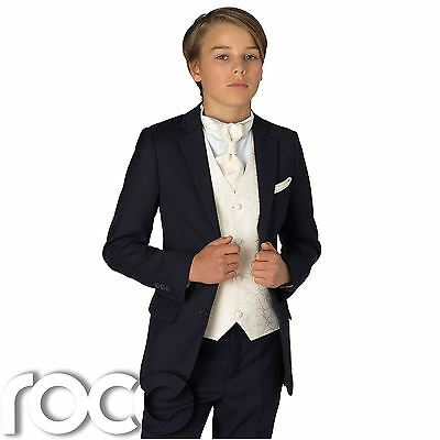 Boys Navy Suit, Boys Wedding Suit, Navy Suits, Ivory Accessories
