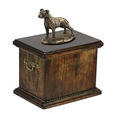 Wood Casket American Staffordshire Terrier Urn for Dog's ashes,with Dog statue.