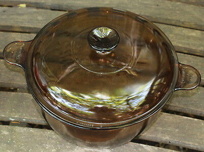 Vintage Pyrex Corning Visions Cook Ware Amber 4.5 L / 4.75 QT Dutch Oven w/ Lid