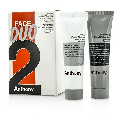 Anthony Logistics For Men Face Duo Kit: Glycolic Facial Cleanser 30ml + All 2pcs