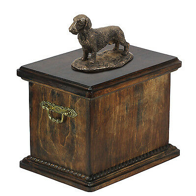 Solid Wood Casket  Dachshund Wirehaired Urn for Dog's ashes,with Dog statue.Pet