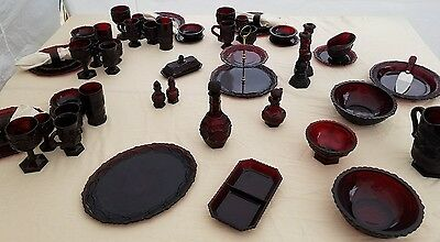 Avon Cape Cod Ruby Red place settings/serving bowls and pieces