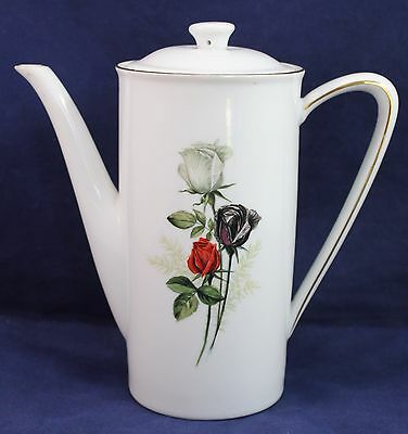 "Teapot Winterling Bavaria Germany RED/BLACK/WHITE Rose Tall 8""H Vintage"