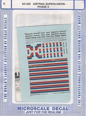 Microscale Decal N  #60-425 Amtrak Superliner Passenger Cars use wit 1980-1987