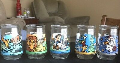 lot of 5 Welch's jelly glasses / jars