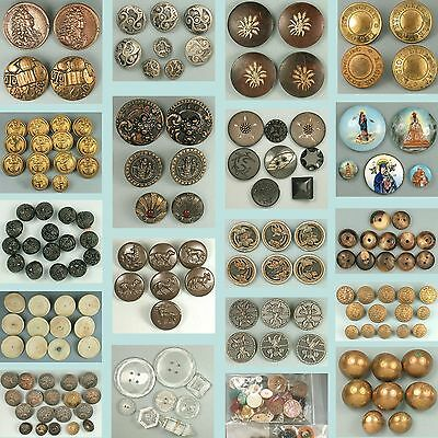 Large Collection * Hundreds of Antique Buttons * English & French * 19th C
