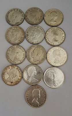 Nice Mixed Lot Of 13 Canadian Silver Dollars  1939-1967