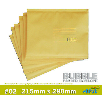 Bubble Mailer #02 215x280mm - Yellow - Padded Bag Envelope 50 / 100 / 200