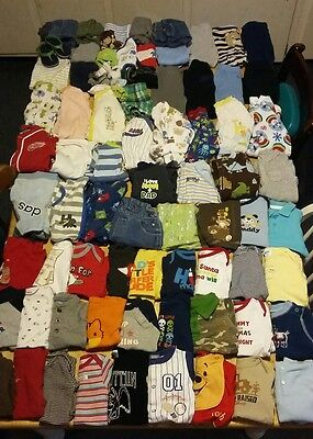 Huge 85 piece lot of baby boy clothes size 0-3months and 3 month, sleepers,more