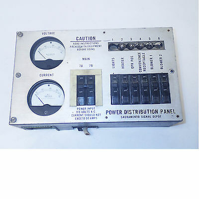 Power Distribution Panel From Us Army Shelter 115V 50A  6X15A Breakers & 2 Mtrs