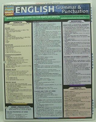 Quick Study Academic English Grammar & Punctuation Guide & Parts of Speech