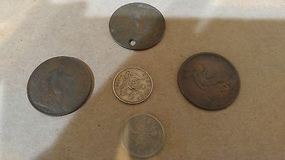 Lot of 5 Antique Old Coins from UK United Kingdom England? 1873 1920 1921 1936 +