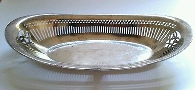 "Vintage R Wallace 12"" Silver Soldered Bread Basket U.S.N. Navy *Rare* 1 listed"