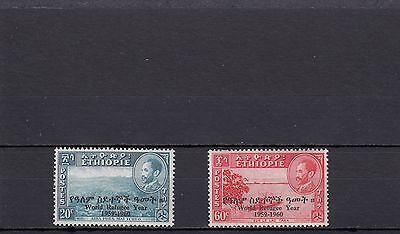 a107 - ETHIOPIA - SG498-499 MNH 1960 OVPT WORLD REFUGEE YEAR