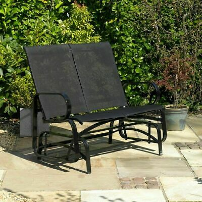 Wido GARDEN PATIO 2 PERSON GLIDER CHAIR BENCH BLACK OUTDOOR ROCKING STEEL MODERN