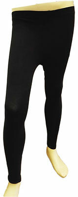 NEW Girls Kids Full Length Plain Stretchy Leggings Teens Black 8 - 15 years