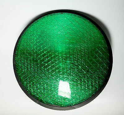 "LEOTEK  Green Traffic Light Signal  LED 12"" Plastic Lens Gasket ManCave Bar 7012"