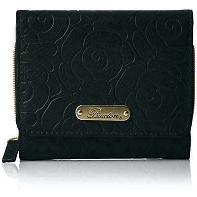 Buxton 5098 Womens Rose Garden Black Embossed Leather Trifold Wallet O/S BHFO