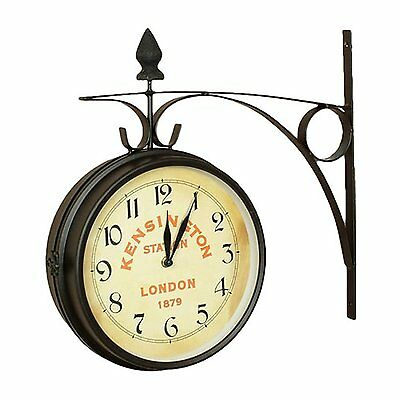Nostalgic Classic Old Style Kensington Station Double Side Clock Metal Case New