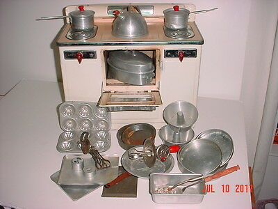 Vintage Empire Corp. Little Lady Working Electric Stove Oven W/ 25 Cookware Pcs
