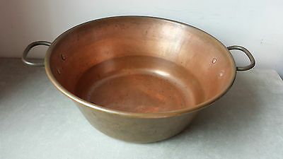 Vintage Large Solid Copper Jam Preserve Pan With Brass Handles 35.5cm`s Diameter