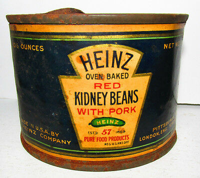 Heinz Red Kidney Beans w Pork Early Paper Label 10 1/2 oz Tin Can Pittsburgh PA